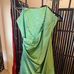 Floor Length Green Ballgown with Tule Accents